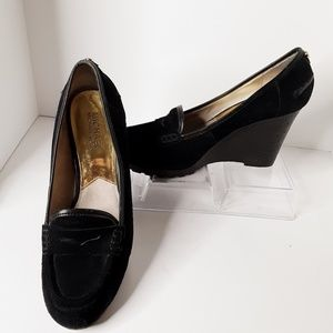 Michael Kors Rory Black Loafers Wedge Heel Size 9M